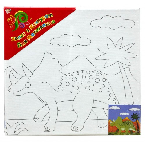 """Холст с контуром """"Динозавр"""" (25см*25см) 953189"""