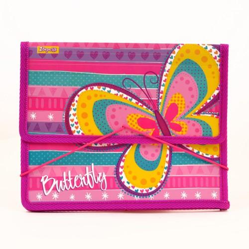 "Папка для тетрадей пласт. на резинке В5 ""Bright butterfly"" 491393"