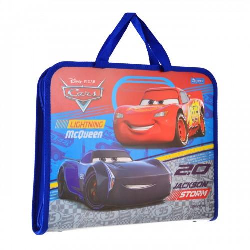 """Папка-портфель на молнии с тканевыми ручками """"Cars"""" 491429"""