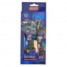 """Карандаши 12/24 цв. """"Steel Force"""" 290555"""