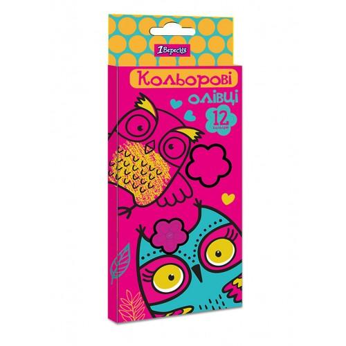 """Карандаши 1 Вересня 12 цв. """"Owl"""", пласт. корп. 290616"""
