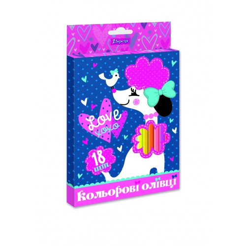 "Карандаши 1 Вересня 18 цв. ""Love XOXO"", пласт. корп. 290621"