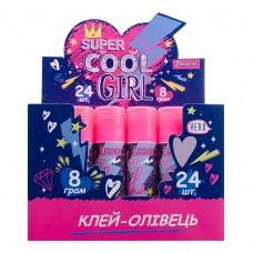 """Клей-карандаш 1Вересня, 8г, PVA """"Cool girl"""""""