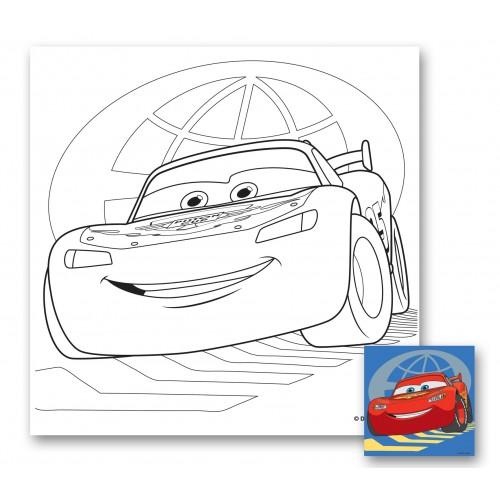 """Холст с контуром """"Тачки-12"""" (25см*25см) с красками 950880"""