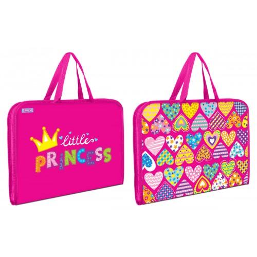 """Папка-портфель 1Вересня на молнии с тканевыми ручками """"Little Princess"""" 491607"""
