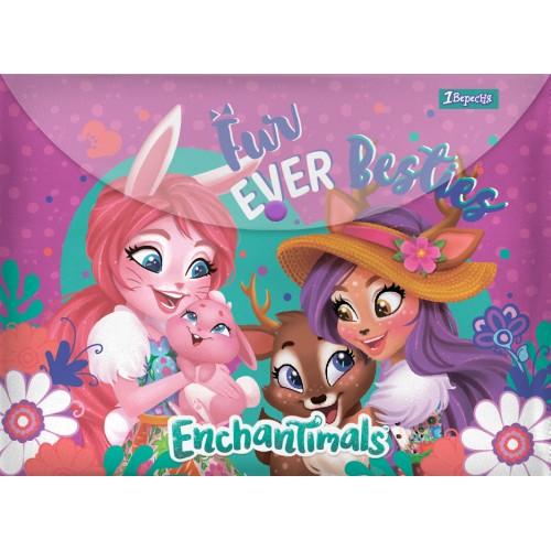 """Папка-конверт 1Вересня на кнопке А4 """"Enchantimals"""" 491837"""