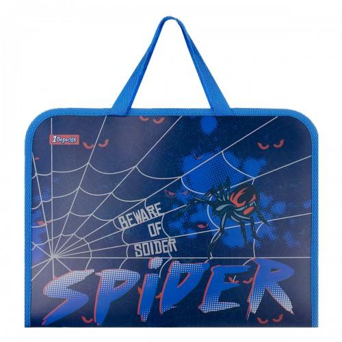 """Папка-портфель 1Вересня на молнии с тканевыми ручками """"Spider"""" 491857"""