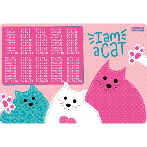 """Подложка для стола 1Вересня детская """"I am a cat"""" (табл.умножения) 491860"""