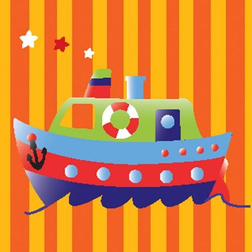 "Холст с контуром ""Кораблик"" (20см*20см) с красками 950385"