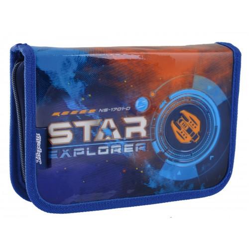 """Пенал твердый 1Вересня одинарный с двумя клапанами HP-04 """"Star Explorer"""" 532192"""