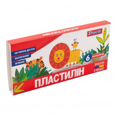 """Пластилин 1Вересня """"Zoo Land"""", 6 цв., 120г, Украина 540512"""