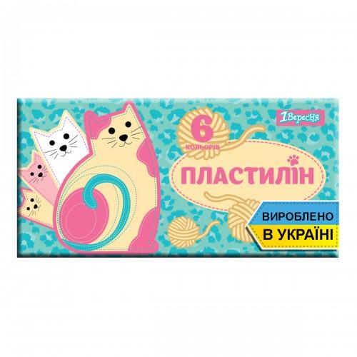 """Пластилин 1Вересня 6 цв. """"I am a cat"""", Украина 540552"""