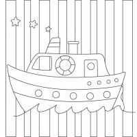 "Холст с контуром ""Кораблик"" (20см*20см) с красками"