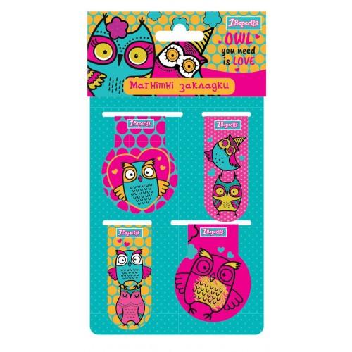 """Закладки магнитные 1Вересня """"Owl"""", 4шт. 707389"""