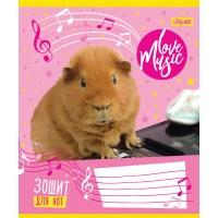 "Нотная тетрадь А5 12 л. 1В ""Music Pets"""