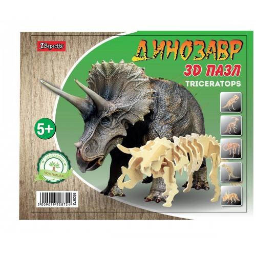 """Набор 3D пазл динозавр """"Triceratops"""", деревянный. 952872"""