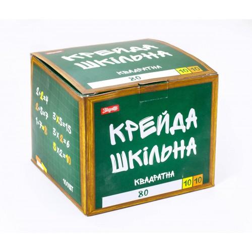 """Мел 1Вересня """"Школьный"""" белый+цветной 12х12мм, 100 шт., квадратный 400147"""