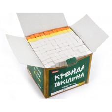 """Мел 1Вересня """"Школьный"""" белый+цветной 12х12мм, 100 шт., квадратный"""
