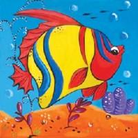 """Холст с контуром """"Рыбка"""" (15см*15см) с красками"""