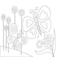 """Холст с контуром """"Бабочки"""" (25см*25см) с красками"""