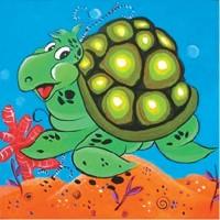 """Холст с контуром """"Черепаха"""" (25см*25см) с красками"""