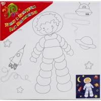 "Холст с контуром ""Космонавт"" (25см*25см) с красками"