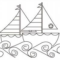 "Холст с контуром ""Кораблики"" (25см*25см) с красками"