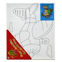 "Холст с контуром ""Самолет"" (20см*25см) с красками"
