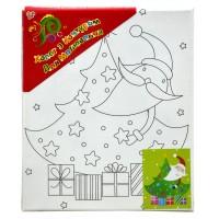 """Холст с контуром """"Дед Мороз с елкой"""" (20см*25см) с красками"""