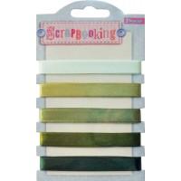 Набор лент декоративных, 1 см (5шт/100см), оттенки зелёного