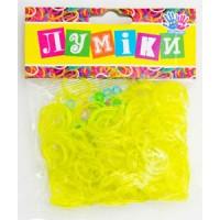 """Набор резинок для плетения """"Блёстки"""" жёлтые, 300 шт, 12 застёжек."""
