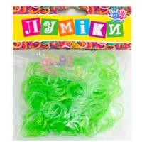 """Набор резинок для плетения """"Блёстки"""" зелёные, 300 шт, 12 застёжек."""