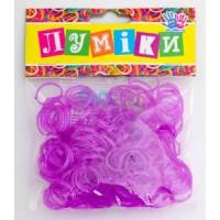 """Набор резинок для плетения """"Блёстки"""" пурпурные, 300 шт, 12 застёжек."""