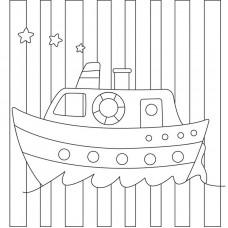 """Холст с контуром """"Кораблик"""" (20см*20см)"""
