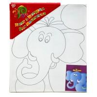 """Холст с контуром """"Слон"""" (20см*25см) с красками"""